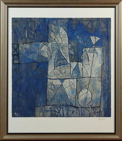 ÉCOLE MODERNE Composition sur fond bleu Lithographie...