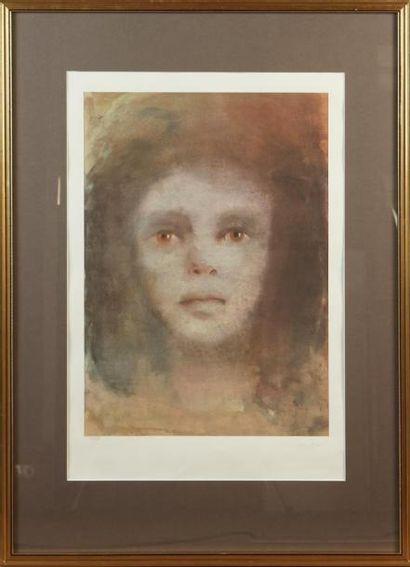 LÉONOR FINI (1907-1996) Visage Lithographie couleurs, signée en bas à droite et...