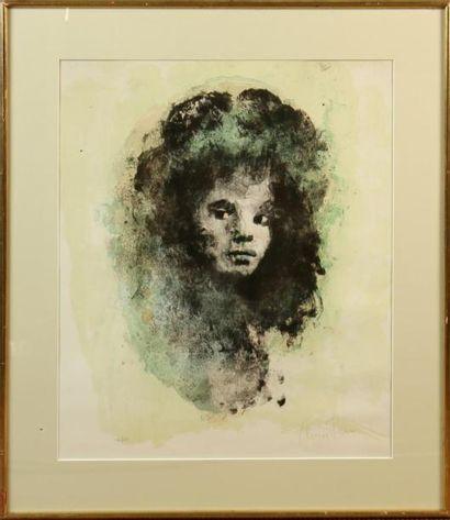 LÉONOR FINI (1907-1996) Visage de jeune fille...