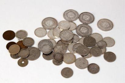 LOT DE PIÈCES en argent dont 5FF 1836, 2...