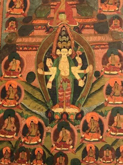 Deux TANGKAS à décor de divinités bouddhiques,...