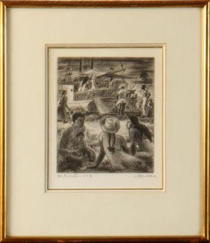 JACQUES BOULLAIRE (1893-1976) Tahiti, bateau à quai Lithographie signée et justifiée...
