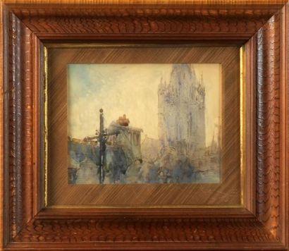 ÉCOLE MODERNE VERS 1900 La cathédrale Aquarelle...
