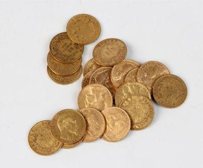 Lot de vingt pièces de 20 FF or