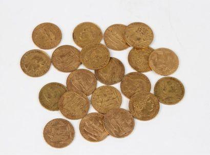 Lot de vingt PIÈCES de 20 FF or (différentes...