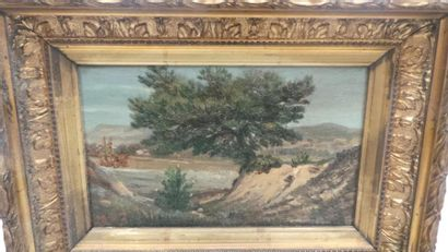 ECOLE MODERNE Paysages Deux huiles sur toile...