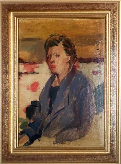 ÉCOLE MODERNE, deux huiles: Portrait de femme...