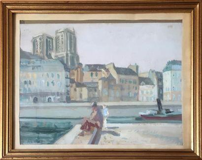 ALLOUARD Vue des quais de Seine Gouache sur...