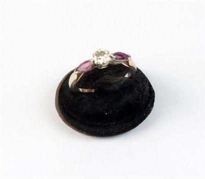 BAGUE en or 18k (750 °/°°) sertie d'un diamant...