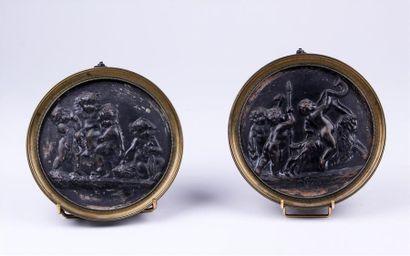 D'APRES CLODION (1738-1814) Deux médaillons...