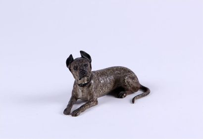 CHIEN allongé en bronze de Vienne peint à...