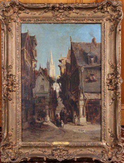 JULES ACHILLE NOËL (1810-1881) Rue animée sur fond de cathédrale (Rouen?) Huile...