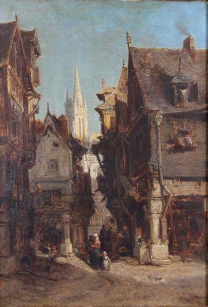 JULES ACHILLE NOËL (1810-1881) Rue animée...