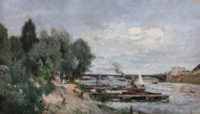 ALEXANDRE RENÉ VÉRON (1826-1897) Bord de Seine animés Huile sur toile, signée en...
