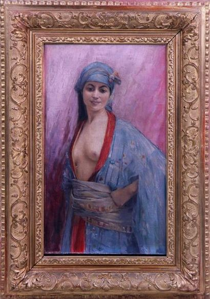 LOUIS-AUGUSTE GIRARDOT (1856-1933) Jeune orientale en déshabillé bleu et rouge Huile...