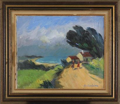 GEORGES JOUBIN (1888-1993) Chemin animé dans...