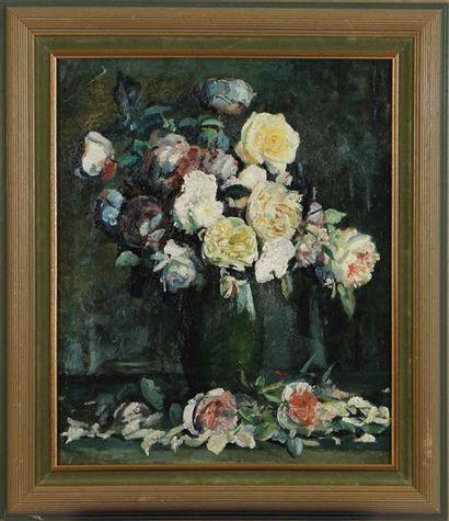 ÉCOLE MODERNE Vase de fleurs Huile sur toile...