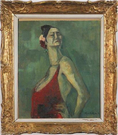 GASTON CORNIL (1883-?) Portrait d'andalouse...