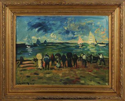 SYLVAIN VIGNY (1903-1970) Bord de plage Huile sur carton, signée en bas à gauche...