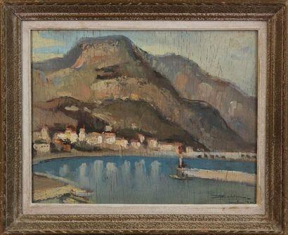 ÉCOLE MODERNE Le port de Beaulieu (A M) Huile sur isorel, signée en bas à droite...