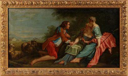 ÉCOLE FRANÇAISE DU XVIIIe SIÈCLE Scène pastorale...