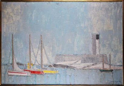 GÉRARD SINGER (1929-2007) Le port d'Antibes...