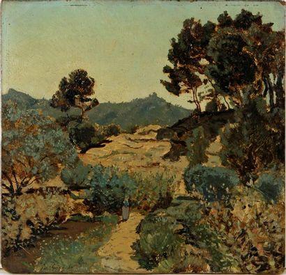 PAUL CAMILLE GUIGOU (1834-1871) Paysage provençal...
