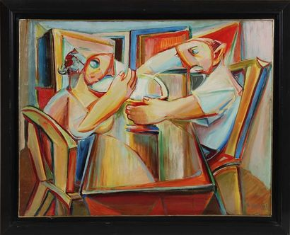 RAYMOND MOISSET (1906-1994) A table Huile...