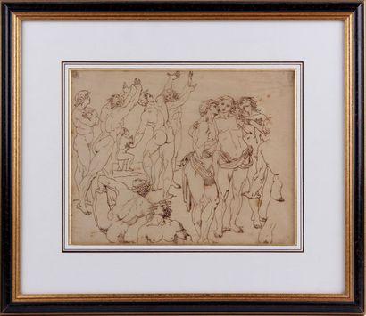 ATTRIBUÉ À PIERRE PUVIS DE CHAVANNES (1824-1898) Nus masculins Encre brune Petites...