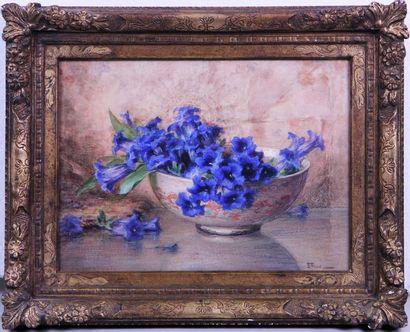 ERNEST FILLIARD (1868-1933) Natures mortes aux fleurs Deux aquarelles signées en...
