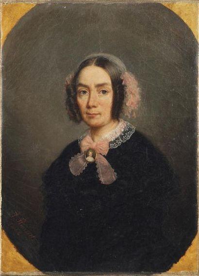 A. ROUSSEL, XIXe SIÈCLE Portrait de femme...