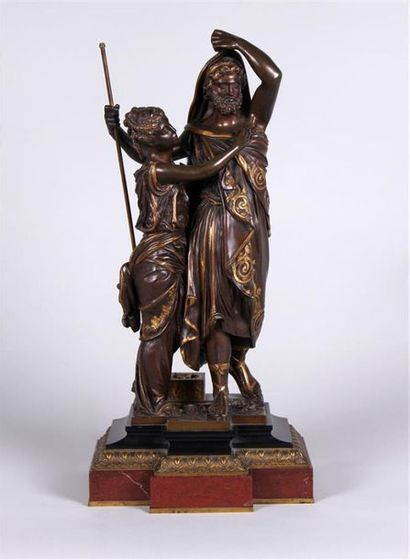 J. HUZEL (XIXe SIÈCLE) Couple d'après l'Antique...