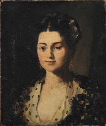 ÉCOLE FRANÇAISE DU XIXe SIÈCLE Portrait de femme Huile sur toile Restaurations,...