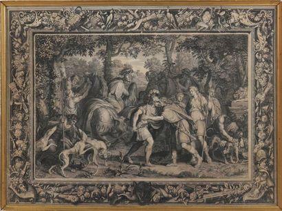 D'APRÈS CHARLES LE BRUN (1619-1690) Scènes mythologiques Deux gravures en noir façon...