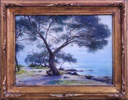 ERNEST FILLIARD (1868-1933) La plage de Boulouris...
