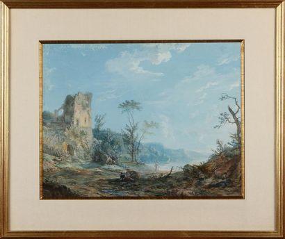 CLAUDE I THIENON (1772-1846) Paysage lacustre...