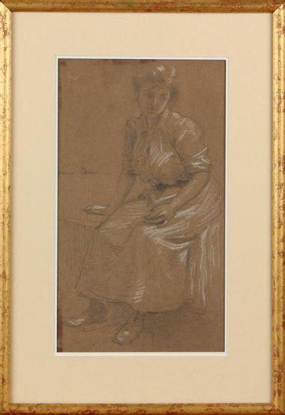 MAURICE CHABAS (1862-1947) Jeune femme assise...