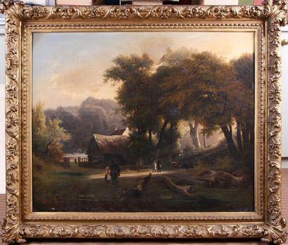 LOUIS-AUGUSTE LAPITO (1803-1874) Chaumière...