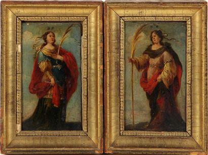 ÉCOLE ITALIENNE DU XVIIIe SIÈCLE Femmes richement...