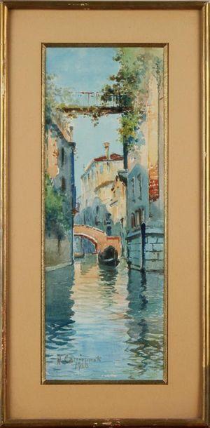 H. CACCIAPUOTI (XXe SIÈCLE) Canal à Venise...