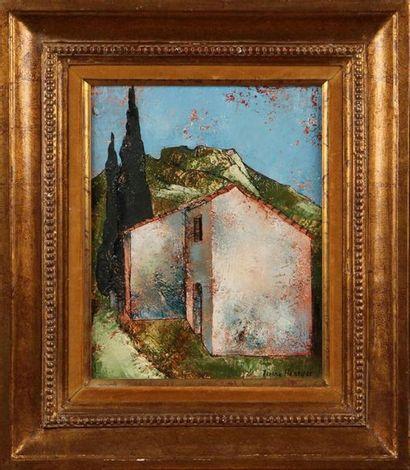 PIERRE HENRY (1924-2015) Maisonnette au cyprès...