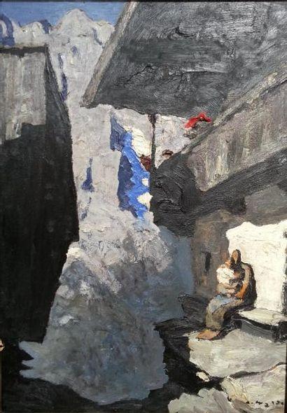 """Alfons WALDE (1891-1958) : """"Femme et enfant dans le village de montagne"""" HSP (60x42)..."""
