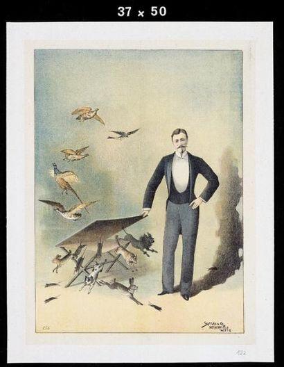 PASSE-PARTOUT.Affiche lithographiée passe-partout.Un illusionniste fait apparaître...