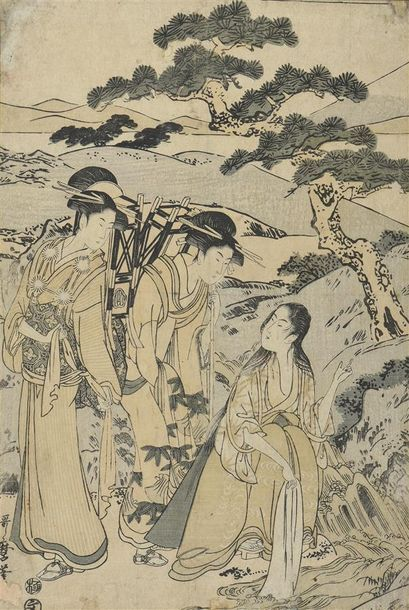 Kitagawa UTAMARO II (1753-1806) Oban tate-e à sujet de trois Geishas Tirage vers...
