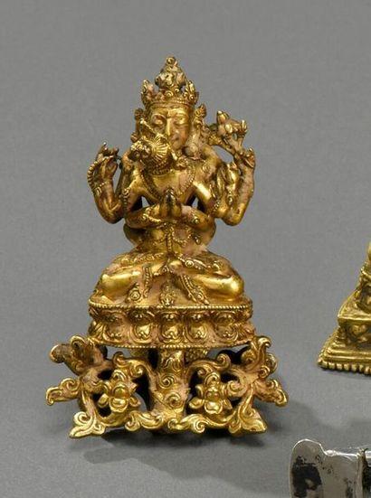 TIBET - XVe siècle Deux divinités protectrices...