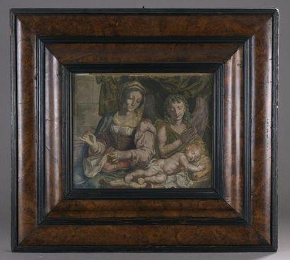École FRANÇAISE du XVIIe siècle Vierge à l'Enfant adoré par un ange Gouache H. 24,5...