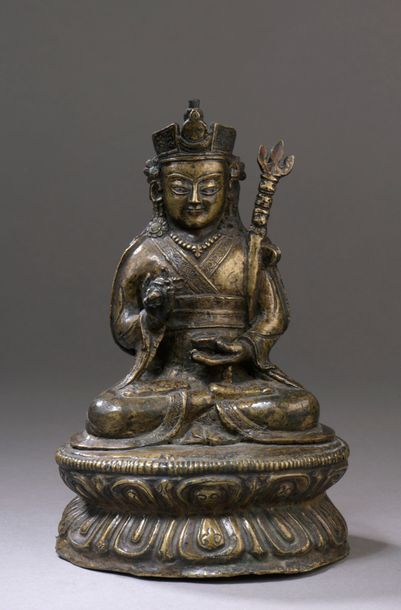 TIBET - XVIe/XVIIe siècle Statuette de Padmasambhava...