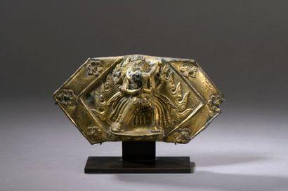 TIBET - XVIIe siècle Fragment de plaque en...