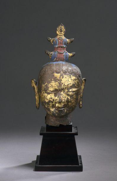 TIBET - XVIIe/XVIIIe siècle Tête de divinité...
