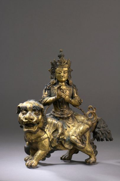 TIBET - XIXe siècle Statuette en bronze doré...